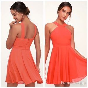 💫New lulus for evermore coral georgette dress
